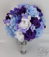 "wedding photo - 17 Piece Package Bridal Wedding Bouquets Silk Flowers Bride Party Bouquet Decoration Centerpieces PURPLE BLUE WHITE ""Lily of Angeles"" BLPU01"