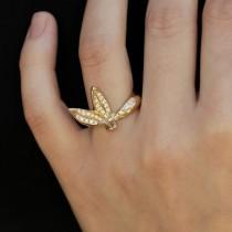 wedding photo - leaf Engagement Ring, Unique Engagement ring, Gold Leaf Ring, 14K gold ring, Leaves Ring, Art Deco ring, Promise Ring, Jewelry Gift, RS-1065