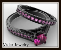 pink sapphire wedding ring setblack gold bridal ring setunique engagement ring setbridal ring set - Pink And Black Wedding Ring Set