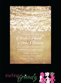 wedding photo - String Light Printable Wedding Invitation with Response