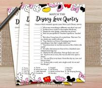 wedding photo - Disney Love Quotes Match Game - Printable Bridal Shower Love Quote Game  - Bridal Shower Party Game - Bachelorette Party Games 009