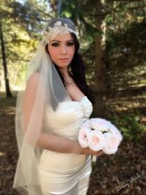 wedding photo - Boho Veil, 1920's Veil, Wedding Veil, Cap Veil, Juliet Veil, Juliet Cap, Side Veil, Champagne Gold Veil, Swarovski Crystal Veil,DAISSYULRICH