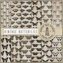 Vintage Butterfly Digital Paper, Butterfly Patterns, 12X12 Inches Antique Papers, Commercial Use, Digital Download, Coupon: BUY5FOR8