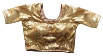 wedding photo - Partywear Gold Readymade Saree Blouse with Sequin - All Sizes