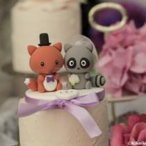 wedding photo - raccoon and fox Wedding Cake Topper---k762