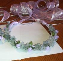 wedding photo - Flower Girl Crown - Mini Rosebud & Gypso Bridal Bridesmaid Floral Communion Ribbon Halo Wreath Garland lavender lilac grey gray C-Isabella