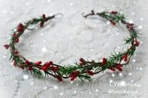 wedding photo - Christmas hair crown Christmas headband Bridal crown Bridal floral crown Wedding flower crown Winter bridal crown Winter wedding