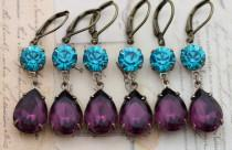 wedding photo - Peacock Wedding Earrings Set of 5 Pairs Purple Bridesmaids Jewelry Gift Teal Amethyst Turquoise - Clip ons avai