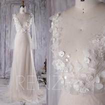 wedding photo - 2016 Cream Wedding Dress with Long Sleeves, See Through Top Ball Gown, Long Evening Gown with Flowers, Prom Dress Floor Length (LW205)