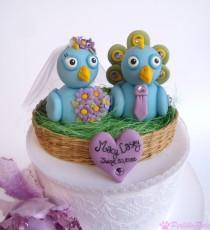 wedding photo - Peacock wedding cake topper, love bird cake topper, bride and groom birds in nest, personalized wedding