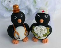 wedding photo - Penguin job cake topper for wedding, nurse bride and doctor groom with personalized banner