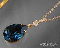 wedding photo - Navy Blue Gold Crystal Necklace Dark Blue Teardrop CZ Necklace Swarovski Montana Rhinestone Necklace Wedding Bridal Blue Gold CZ Jewelry