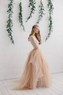 wedding photo - Champagne Nude Ivory Wedding  Dress, Two Piece Wedding Dress,  Alternative Wedding Dress , Long Sleeve Tulle Dress - Melanie