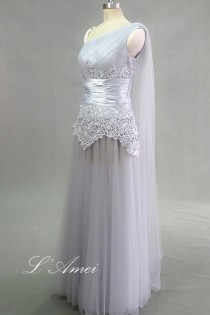 wedding photo - Elegant Custom made Gorgeous Chiffon Single Shoulder Lace Wedding Dress with Attached Drape Also Good for Beach Wedding