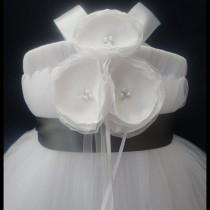 wedding photo - Slate Gray Flower Girl Dress, Little Girls, Toddler Girls, Baby Girls, Flowergirl Dress, Tutu Dress, Flower Sash