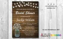wedding photo - INSTANT DOWNLOAD Bridal Shower Invitation Printable, Rustic Floral Mason Jar Bridal Shower Invitation Instant Download, Invites Editable PDF