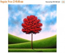 wedding photo - Red Tree Oil Painting, Texture Painting, ORIGINAL Art, Canvas Art, Large Colorful Modern Landscape Painting, Huge Abstract Tree Art, 36x36