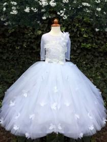 wedding photo - Beautiful Butterfly Girls Wedding Dress with Short Sleeves / 3D Butterfly Flower girl Dress /  First Communion Dress for Little Girls