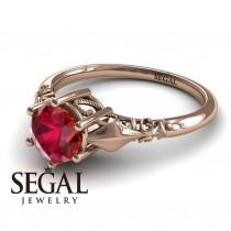 wedding photo - Unique Engagement Ring 14K Red Gold Antique Ring Ruby - Reagan Unique Engagement Ring