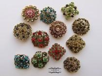wedding photo - 12-100 Antique Bronze Brooch Lot Rhinestone Brass Brooch Multi Color Pin Mixed Wholesale Crystal Wedding Bouquet Brooch Bridal Button DIY