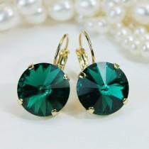 wedding photo - Emerald Earrings Green Swarovski Crystal Drop Gold Earrings,Emerald Bridesmaids,Emerald wedding Dark Green,14mm,Gold finish,Emerald,GE106