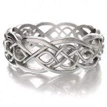 wedding photo - Celtic Wedding Ring With Cut-Through Infinity Symbol Pattern in Sterling Silver, Made in Your Size CR-1051