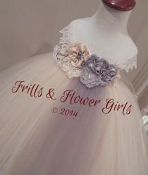 wedding photo - Champagne and Grey or Silver Hand-made Shabby Flower Tutu Dress for Flower Girls Sizes 2T, 3T, 4T up to Girls size 7