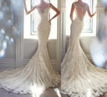 wedding photo - Sexy Mermaid Lace Formal V Neck See-through Back Free Custom Wedding Dresses, PD0276