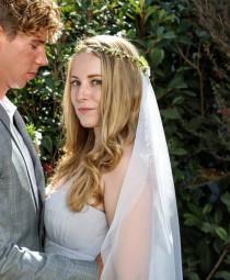 wedding photo - wedding flower crown veil - woodland wedding veil - boho veil - soft wedding veil - wedding crown veil - flower crown with veil - raw edge