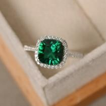 wedding photo - Emerald engagement ring, sterling silver, cushion cut, emerald gemstone ring
