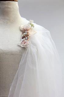 wedding photo - Reserved –Unique Wedding Veil of Romantic Vintage Tulle with Unique Jeweled hair-comb & Decorations