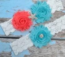 wedding photo - GARTER / Beach Wedding Garter / Aqua Coral Garter Set / Starfish Garter set / Toss Garter / Beach Garter / Lace Garter