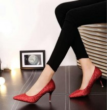 wedding photo - Elegant Sequins Cloth Lady Wedding Shoes High Heel Pointed Toe