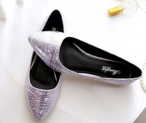 wedding photo - Flats Ladies Wedding Shoes Silver Gold Ballerina Shoes