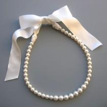 wedding photo - Pearl Ribbon Tie Necklace - Bridal Pearl Necklace - Breakfast at Tiffany Pearls