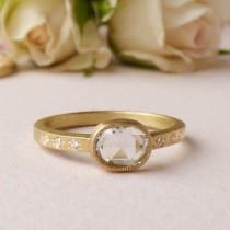 wedding photo - Iris - 18ct Fairtrade Gold Ethical Engagement Ring with Rose Cut Diamond