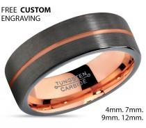 wedding photo - GUNMETAL Black Tungsten Ring Rose Gold Wedding Band Ring Tungsten Carbide 7mm 18K Tungsten Man Wedding Band Male Women Anniversary Matching