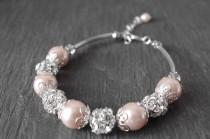 wedding photo - Wedding blush pearl bracelet  tea rose pearl bracelet bridesmaid bracelet wedding jewelry bridal jewelry crystal bracelet Bridesmaids Gifts