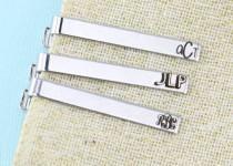 wedding photo - Groomsman Tie Clip - Monogram - Groom Gift - Personalized Tie Clip