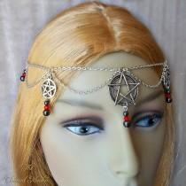 wedding photo - Pagan Circlet, Wiccan Headdress, Wicca Headpiece, Pentagram Head Chain, Gothic Head Chain, Pentacle Circlet, Wicca Jewellery, Hematite, Red