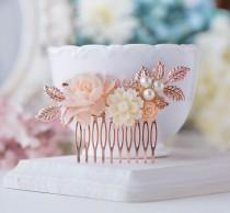 wedding photo - Rose Gold Wedding Bridal Hair Comb Blush Pink Cream White Pearl Rhinestones Leaf Branch Rose Floral Comb Nudes Natural Tones Hair Piece