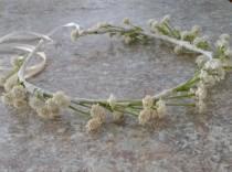 wedding photo - Bridal Floral halo Silk Babys Breath cream Flower Crown Ivory Wedding hair accessories  baby flower girl headband artificial wreath