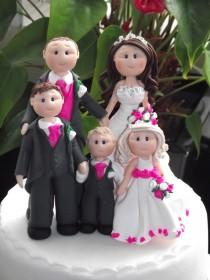 wedding photo - personalised bride groom 3 children wedding cake topper all handmade, customised to your specification