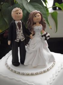 wedding photo - personalised wedding cake topper bride, groom on a base  all handmade to your details