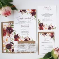 wedding photo - Fall Wedding Invitations - Burgundy & Blush - Wedding Invitations - Rustic Burgundy Script Collection Sample Set