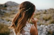 wedding photo - Gold Bridal headpiece - Wedding Hair Vine - Back of Head Hair Accessory  - bohemian headpiece - Boho Wedding Dress