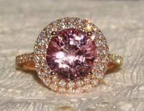 wedding photo - 3 Carat Peachy Pink Spinel in Rose Gold Double Diamond Halo Engagement Ring, Rose Gold Engagement Ring
