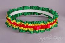 wedding photo - Rasta Wedding Garter in Red, Yellow and Green Satin with Tailored Bow