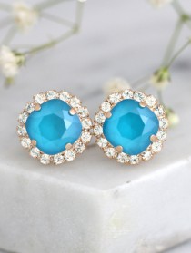 wedding photo - Blue Earrings, Bridal Blue Sky Earrings, Blue teal Crystal Swarovski Earrings, Bridesmaids Earrings, Sky Blue Earrings, Bridal Blue Earrings
