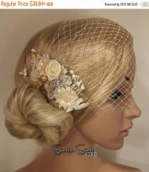 wedding photo - SALE Wedding Hair Comb, Lace Wedding Comb, Bridcage Veil, Bridal Veil, Wedding Veil, Bridal Hair Comb, Winter wedding comb, Ivory lace hair